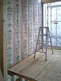三重県伊賀市の狭小住宅 断熱材施工