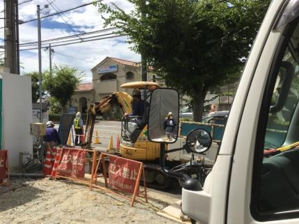奈良学園前のガス工事