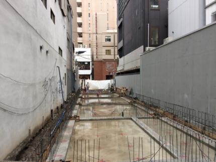 大阪のテナントビル鉄骨基礎完了