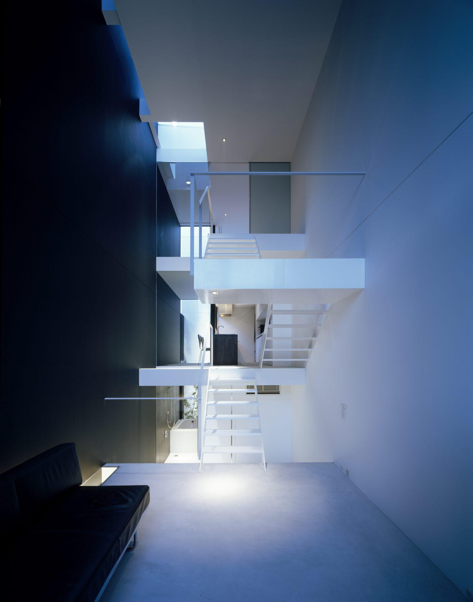 大阪昭和町の家のリビング(夜景)01