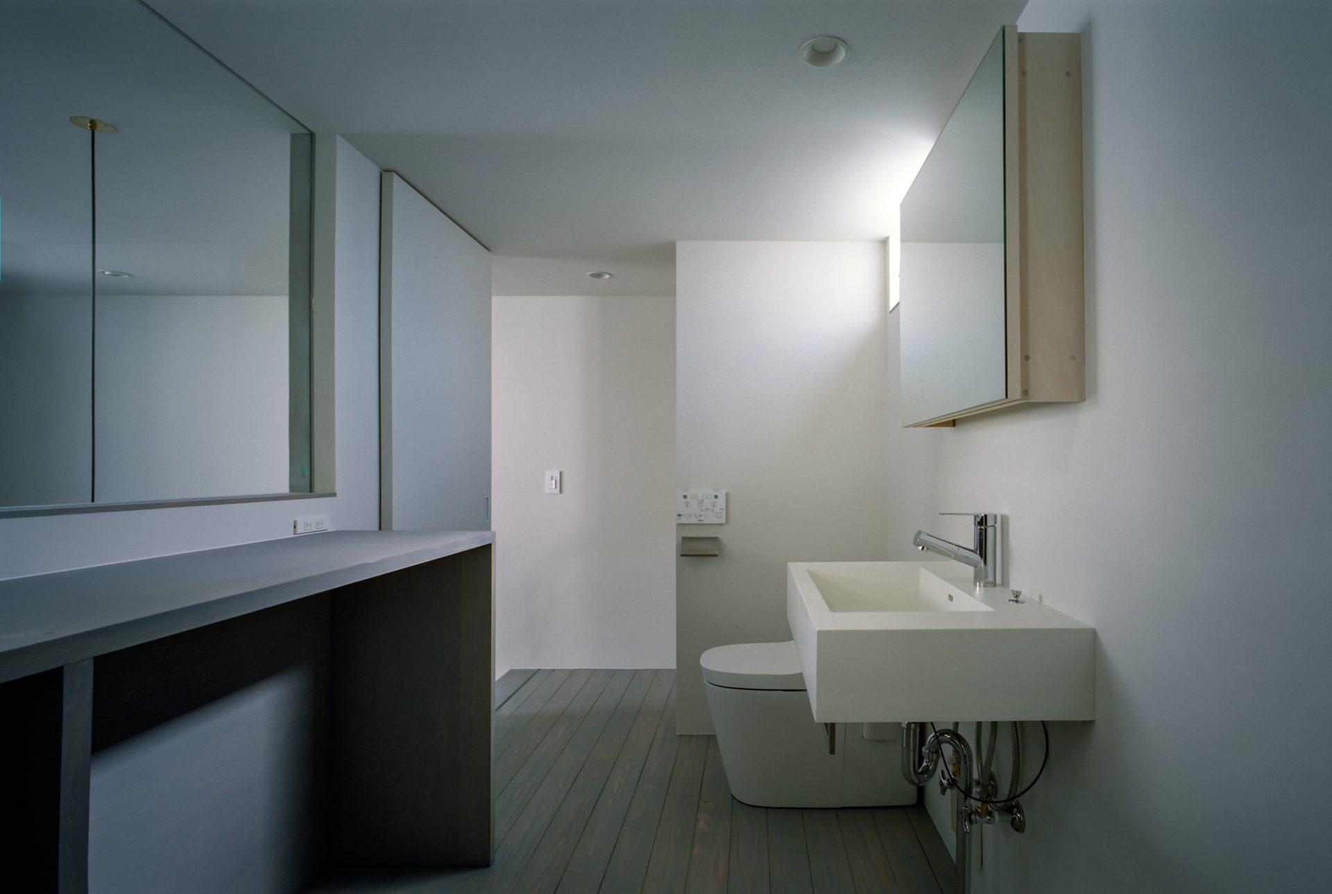 兵庫光のヴォイドのある家の洗面室03