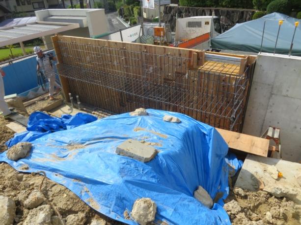 大阪南千里の家擁壁配筋検査